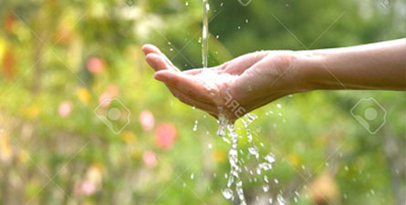 Catching water in hand