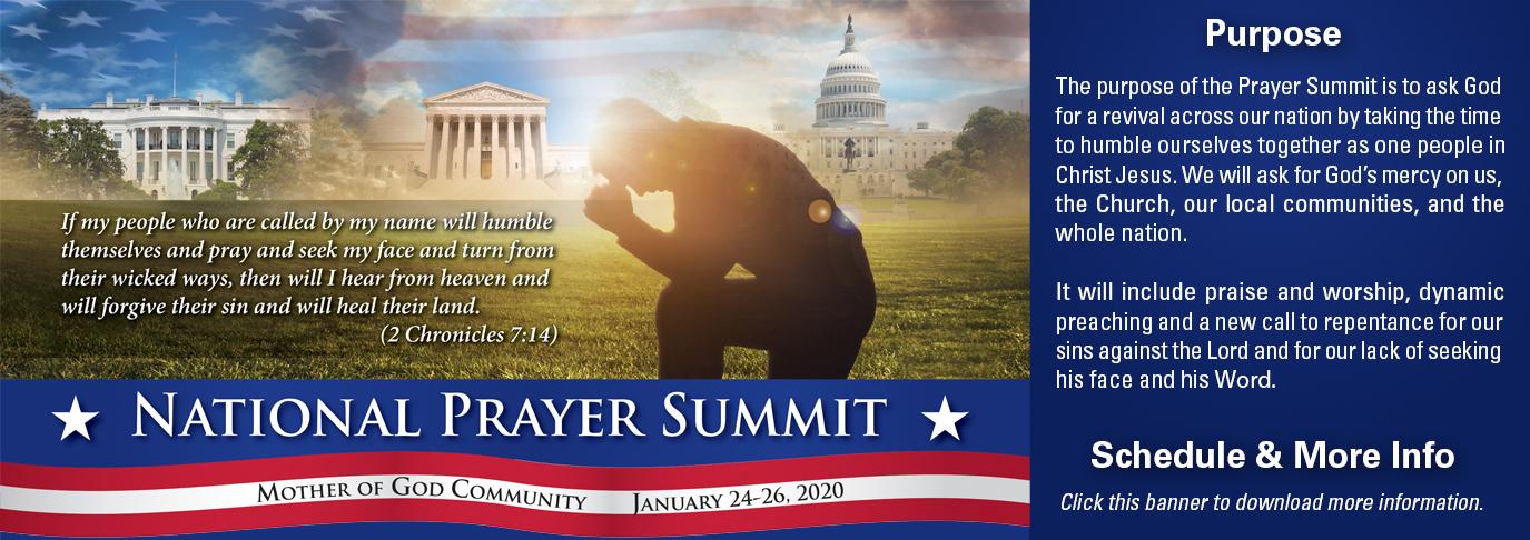 2020 National Prayer Summit at Mother of God Community, January 24-26, 2020.
